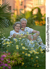 Old couple sitting