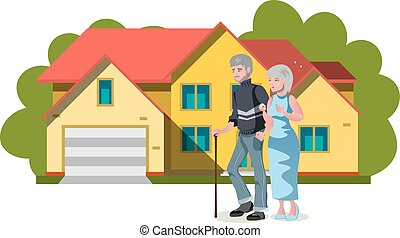 Old couple standing near house