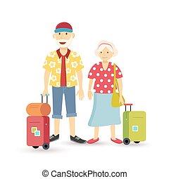 Old couple summer holiday senior - Elder grandparent couple...