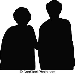 old couple together, silhouette vect