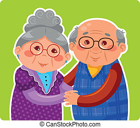 old couple - senior couple hugging and smiling