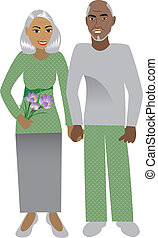Old Couple - Vector Illustration of a happy old couple in...