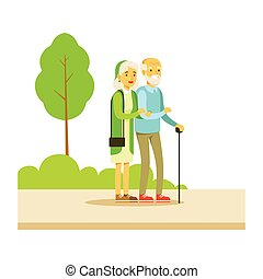 Old Couple Walking Holding Hands, Part Of People In The Park Activities Series