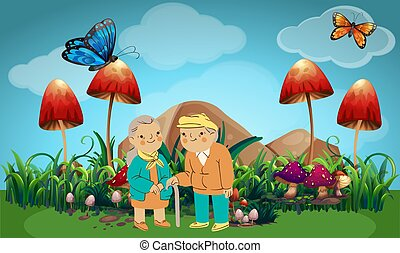 old couple walking in the garden