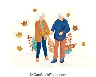 Old couple walking Vector flat style. Autumn fall season illustrations