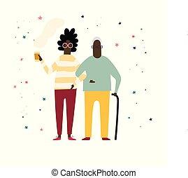 Old couple walking with coffee. Flat cartoon illustration