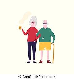 Old couple walking with coffee. Flat cartoon illustration.