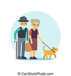 Old couple walking with cute dog. Eldery family cartoon character