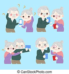 cute cartoon old couple selfie on the blue background