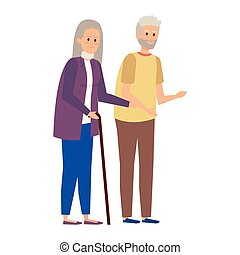 old couple with canes characters