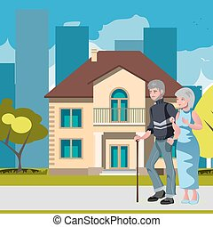 Old couple with house home image