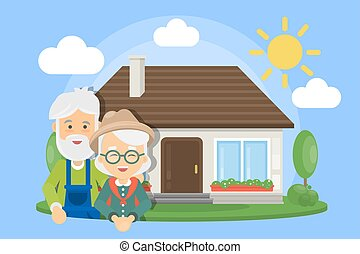 Old couple with house.