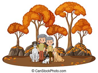 Old couple with their dog in the park isolated