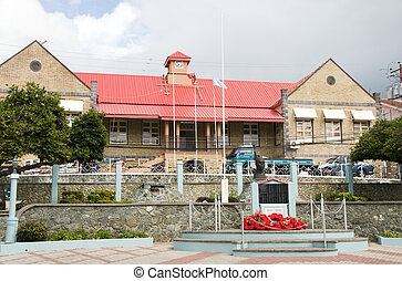 """old Court House Government House of Assembly A.P.T. """"Fargo"""" James Memorial Park Scarborough Tobago"""