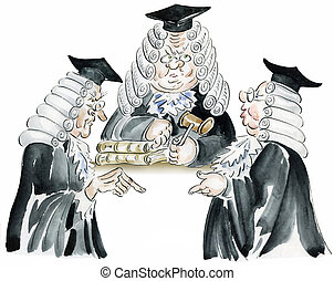 Old court session comic illustration