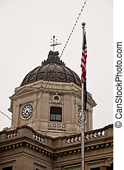 Old Courthouse Clock Dome with American Flag