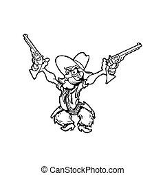old cowboy cartoon character. Vector Illustration.