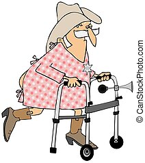 Old cowboy using a walker - This illustration depicts an old...
