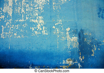 Old cracked blue wall