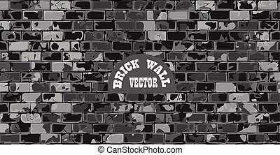 old cracked brick wall vector