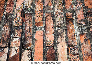 Old cracked bricks wall background texture