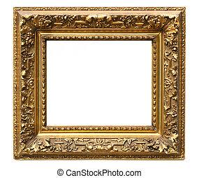 Old cracked gilded frame on white background