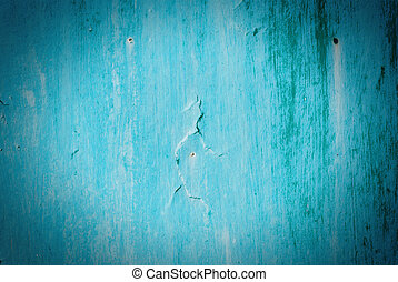 Old cracked painted texture. Rusty blue wood.