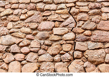 Old Cracked Stone Wall