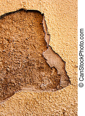 Old cracked wall - Old beige double cracked wall with a...