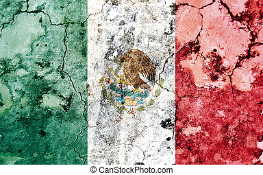 Old cracked wall with painted flag