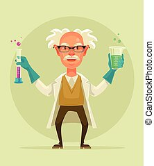 Old crazy scientist character hold test tube. Vector flat cartoon illustration