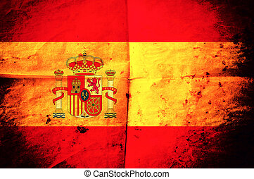 Spanish flag - Old creased Spanish flag paper as the...