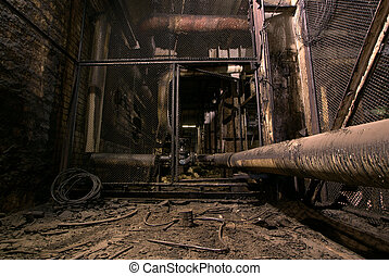 old creepy dark decaying dirty factory