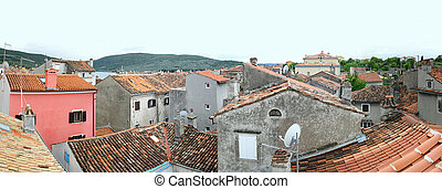 Old Cres - Panorama of roof tops Cres in Croatia