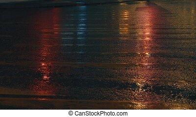 Old crosswalk in the night lighting 4K