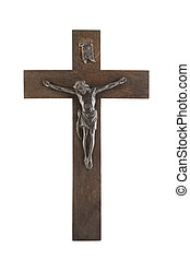 Old crucifix isolated on white background with clipping path