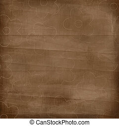 Old Crumpled Paper Background With Flowers