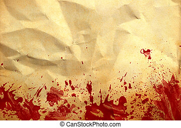 Old crumpled paper background with red blood splash