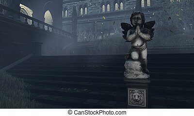 Old Cupid's sculpture at misty night