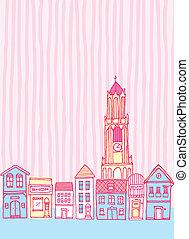 Old cute cartoon town