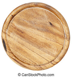 old cutting board - old wood round cutting board with...