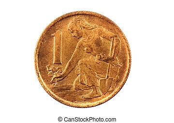 old czech crown (czech coin - 1 koruna)