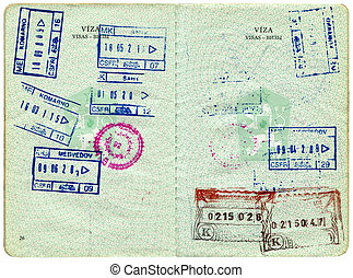 Old Czech passport, page for visa marks