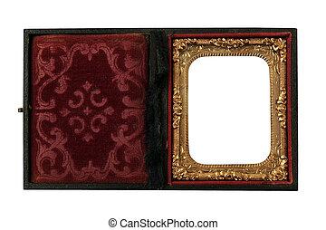 vintage daguerreotype case with metallic frame on a white background