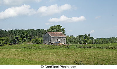 Old damaged farm in the country