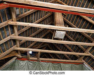 Old damaged roof ceiling