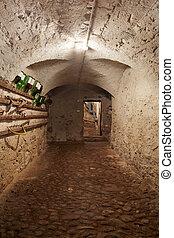 Old, dark basement corridor