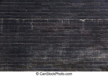 Old dark brick wall