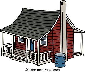 Old dark red  house