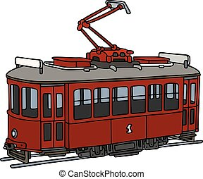 Old dark red tramway - Hand drawing of a classic dark red...